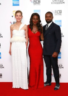 LONDON, ENGLAND - OCTOBER 05: Rosamund Pike, Amma Asante and David Oyelowo attend the 'A United Kingdom' Opening Night Gala screening during the 60th BFI London Film Festival at Odeon Leicester Square on October 5, 2016 in London, England. (Photo by John Phillips/Getty Images) *** Local Caption *** Rosamund Pike; Amma Asante; David Oyelowo